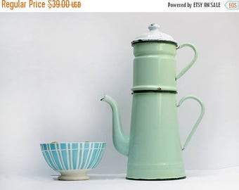 Pretty Completed French Vintage Mint green Enamel coffee pot, light green tea pot, enamelware Home Decor,French Country, Rustic French Decor