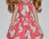 American Girl Wellie Wisher Doll Clothes Custom Made Peach Cute Puppy Print Dress