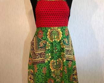 Plus Size African Print Full Apron