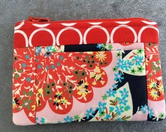 Wallet Coin Purse Card Carrier Red,  Blue and Pink Amy Butler