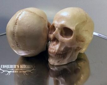 Medium size Chocolate Human Skull (dark and white)