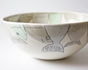 large pottery bowl, serving bowl, ceramic fish bowl, handmade ceramics and pottery, whimsical serving bowl, unique serving dish, karoArt