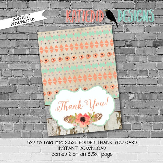 Tribal THANK YOU CARD folded 1445 wood flowers feathers rustic digital printable baby shower birthday retirement wedding stationary