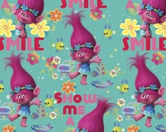 Scrub Hats  Smile with Poppy, from Dreamworks Trolls, Whimsical Womens Bouffant Scrub Hats with a Matching Headband USA