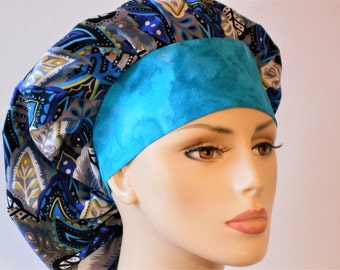 Scrub Hats Ocean Blues All Over With A Muted Blue Headband Bouuffant Scrub Hat