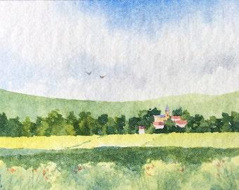 ACEO Original watercolor painting - Distant village