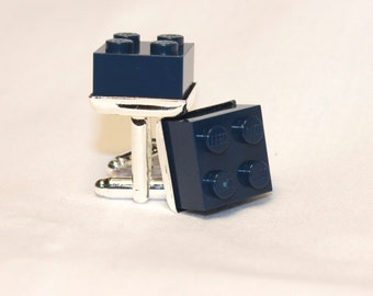 Black Square Lego Brick Cuff Links - Silver plated
