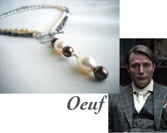 Oeuf: Hannibal inspired front clasp necklace, pearl & smoke quartz - hannibal lecter, hannibal jewelry, front toggle, multi strand, pearls