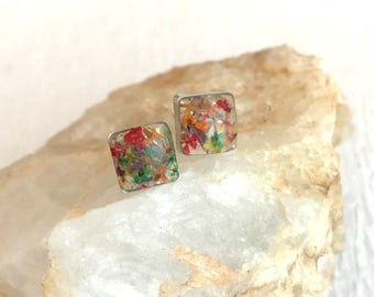 Pressed Flower Petal Earrings, resin jewelry silver stainless steel posts studs multicolor flowers small  tiny pierced square hypoallergenic