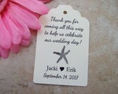12 Thank you starfish destination wedding favor tag.  Shipping tags in white, ivory, Kraft.  Thank you favor tags.
