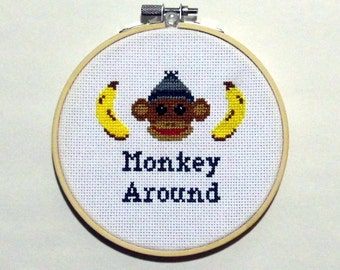 Blue Monkey Around - 5 Inch Cross Stitch Hoop