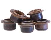 Arabia of Finland Ruska Egg Cup Set 6x.. Designed by Ulla Procope.. Brown Retro Mid Century.. Made in Finland..