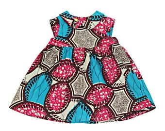 Pink Ankara baby dress, African kid's clothes, Girl's African dress