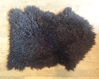 Vintage Mongolian Sheep Lamb Sheepskin Fur Rug Black Dark Red Decorative Mat Carpet circa 1980's / English Shop