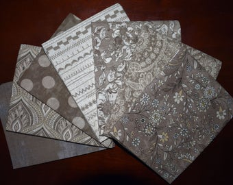 Maven Fat Quarter Bundle of 7 in Taupe by BasicGray for Moda