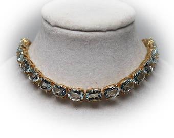 Lovely Sterling Silver Aqua Link Bracelet