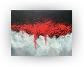 Abstract Black Red Gray Grey White Original Painting Wall Decor Home and Living Office - Dragon Fire No.3 - 30 x 40 - by Skye Taylor