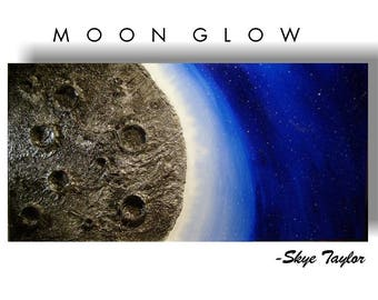 MADE TO ORDER -Metallic Silver Textured Dark Blue Moon Painting Night Sky Stars -Moon Glow- 24  x 48 - Skye Taylor