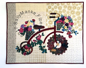 Tricycle Art Quilt - Floral Trike - Quilted Wall Hanging - Vintage Cycle - Fiber Art - Original Design - Office Decor - Baby Kids Room Decor