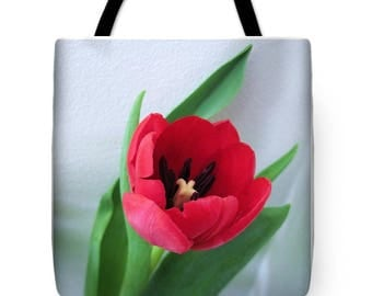 Red Tulip Tote Bag, Grocery Tote Bag, Flower Tote Bag, Spring / Summer Tote Bag, Beach Tote Bag, Patrushka Flower Totes, FREE SHIPPING USA