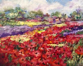 "Provence poppies Landscape Poppy Field Original painting 9 x 12"""