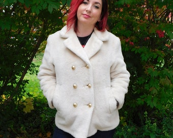 Vintage Plush Coat Cream Color With Gold Buttons, Double Breasted Fuzzy Jacket Size Small