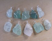 Custom for Anna Set of 10 Real Sea Glass  Necklaces in Beach Colors