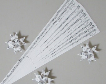 Musical Notes Patterned Paper Strips for Making Moravian German Stars (50 strips), 1/2 inch or 3/4 inch paper strips