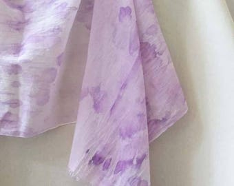 Purple Cotton Scarf, Woman's Purple Scarf, Summer Scarf, Purple Scarf,  Lavender Scarf, Watercolor Scarf, Hand Painted Scarf, Woman's Scarf