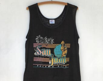 Vintage San Juan Puerto Rico Paper Thin Distressed Tank Top T Shirt L