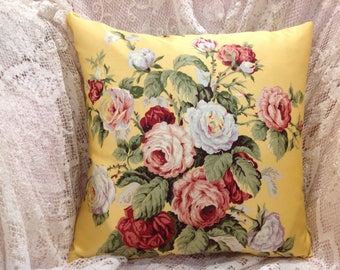 SUMMER Ralph Lauren PILLOW COVER vintage fabric with cabbage roses and beautiful bright colors.