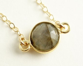 Gift Labradorite Necklace Round Small Labradorite Connector, Faceted Labradorite Gemstone Necklace on Gold Filled Chain Simple Elegant