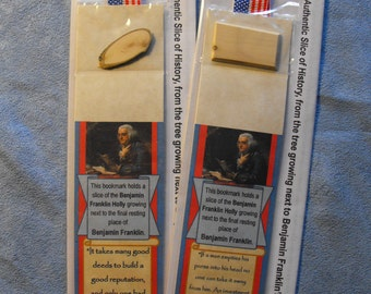 Benjamin Franklin Authentic Slice of History bookmark – from the Holly tree growing next to the final resting place of Benjamin Franklin