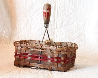 Antique Potato Masher Basket w/ red chippy wooden handle Handmade Country