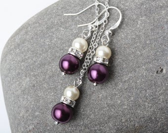 Bridesmaid jewelry set, Plum and ivory earrings and necklace set, Plum wedding jewelry, Plum and Ivory pearl jewelry set, bridesmaid gift