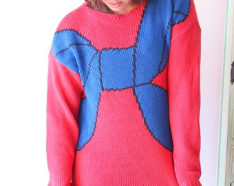 1980s Vintage Izod Red Blue Bow Slouchy Crop Sweater....hippie. urban. boho. knit. retro. mod. birthday. holiday. designer. winter. fall.