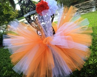 Tennessee Volunteers Baby Tutu in Orange  White with Flower Headband - Texas Longhorn Baby Tutu - College Football Tutu - Orange White