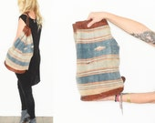 Vintage Distressed Woven Bucket Bag, Leather Textile Backpack , Serape Backpack