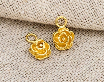 2 of 925 Sterling Silver 24k Gold Vermeil Style Flower Charms 6.5 mm.   :vm0812
