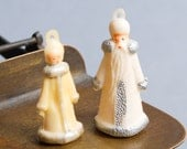 Set of 2 vintage miniature plastic Christmas Tree Decoration, Ornament, Santa Claus and Snow Maiden