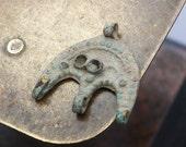 Antique brass filigree charm, pendant, connector, finding, dark patina