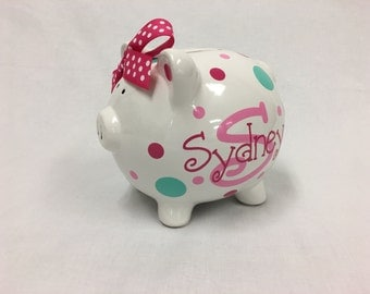 Personalized ceramic Piggy Bank with name polka dots - match room decor, nursery, baby, flower girl gift