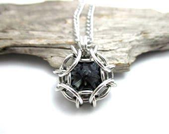 Graphite Swarovski Crystal Pendant - Phaedra Chainmaille Pendant - Swarovski Crystal Chainmail Pendant - Crystal Pendant