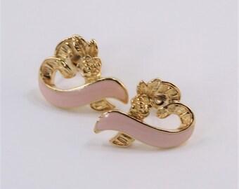 Vintage 1996 Signed Avon Pink Ribbon Breast Care Cancer Awareness Rose Flower Heart Pastel Enamel Goldtone Gold Tone Pierced Stud Earrings
