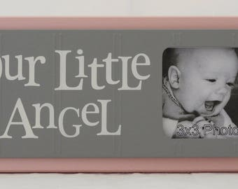 Baby Picture Frame | Baptism Gift | Christening Gift | Little Girls Decor | Pink Baby Nursery Decor | Newborn Picture | OUR LITTLE ANGEL