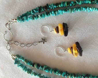 Turquoise, amber, coral necklace and earring set.