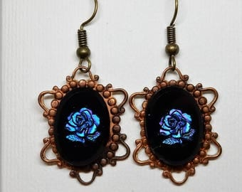 Rose Earrings,Blue Rose Jewelry, Beauty and the Beast, Belle Earrings, Magic Rose Earrings, Fairy Tale Beauty Beast