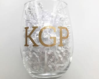 Personalized Stemless Wine Glasses with Initials in Gold Block Letters - Bridesmaids Glass