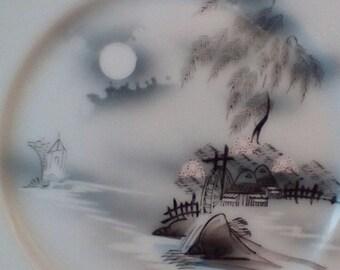 Vintage Pair Hayasi Kutani Fine China Cake/Dessert Plate.  Village Waterwheel Pattern.  G-277