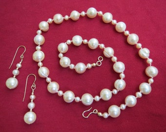 Big Round Peach Cultured Pearl Necklace & Earrings w 14K Gold Filled